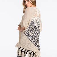 Blu Pepper Crochet Back Womens Sweater Wrap Beige  In Sizes