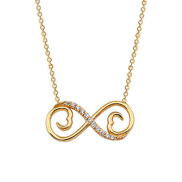 Infinity with Two Hearts 14k Solid Gold Necklace