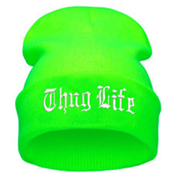 bf9a16b7587 THUG LIFE Letter Embroidered Unisex Beanie Fashion 2pac Hip Hop