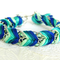 Emerald Peacock - Mint, Sea Green, Rich Turquoise, & Royal Blue - Chevron Braided Modern Friendship Bracelet - Silver Chain