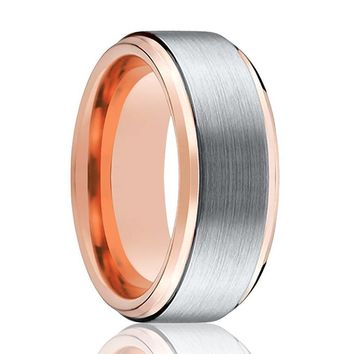 Tungsten Wedding Band - Men and Women - Comfort Fit - Rose Gold & Silver Brushed Beveled - Tungsten Carbide Wedding Ring -  4mm - 6mm - 8mm - 10mm