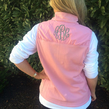 Women's PINK Vest Monogram  Font shown MASTER CIRCLE in grey