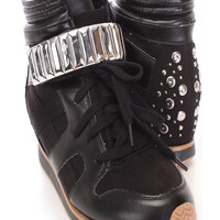 Black Studded Sneaker Wedges Faux Suede Leather