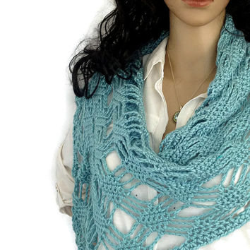Lallybroch OutlanderJenny Shawl Wrap Scarf Spring Wildflowers Scottish Blue Lace FREE SHIPPING