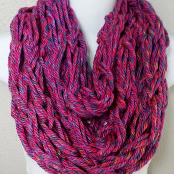 Pink with Speckled Colors Knitted Infinity Scarf Womens Knit Scarves Girls Fall Infinity Scarf Arm Knitted Scarves