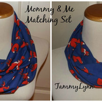 Mommy & Me Royal Cobalt Blue and Orange Fox Mother Daughter Son Family Animal Jersey Knit Infinity Scarf  Accessories