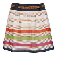 Belted Stripe Skirt with Pockets