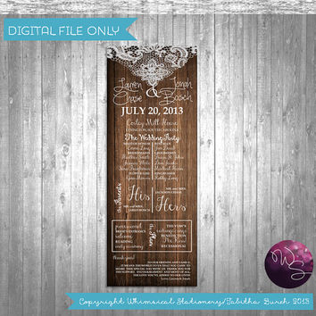 "Wedding Program ""Wood & Lace"" Collection (Printable File Only); Rustic Country Wedding Program; Girly Outdoor Wedding"