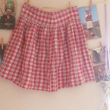 Picnic Red Plaid Floral Vintage Western Style Cotton Skirt, Medium, Gift for her, Vintage Skirt, Granny Skirt, Boho Chic, Bohemian Style