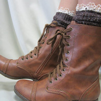 Miss Tori lace boot socks Chocolate tweed knit  -The socks your combat boots can't live without lace slouch socks great with  combat boots