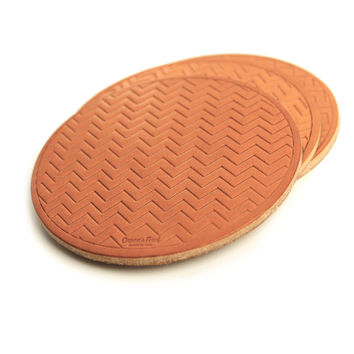 Striped Leather Coasters - Tan