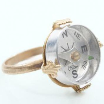 Compass Gold Metal Ring