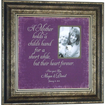 Personalized Picture Frame for Mom, A MOTHER HOLDS a Child's Hand, Parent Gift, Wedding, Mother of the Bride, Groom, Grandmother, 16 X 16