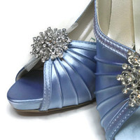 Blue Satin and Tulle Rhinestone Platform Peep Toe Wedding Bridal Shoes