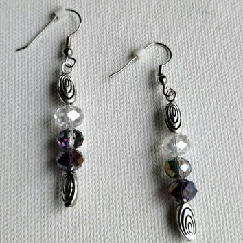 Handmade beaded earrings//silver swirl beads//translucent gray and purple beads//