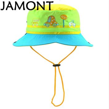 [JAMONT] Cartoon Wide Brim Children Bucket Hat With String Embroidery Kids Fishing Cap Boy Girl Summer Sun Panama Bone Gorras
