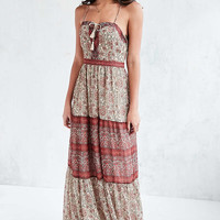 Ecote Face the Music Floral Lace-Up Maxi Dress - Urban Outfitters