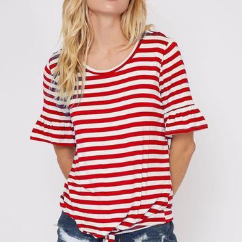 Red Striped Ruffled Sleeve Top