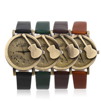 Vintage Unique Design Guitar Pattern Stave Dial Music Notation Analog Quartz Wrist Watch PU Leather Watchs Retro Gift