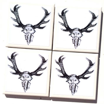 Antlers Coasters, Tile Coasters, Antler Drawing Illustration, Drink Coaster, Tribal Art, Animal Skull Antlers, Giifts for Hunters, Deer Art,