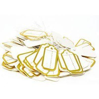 PG-024 100 pcs Scalloped String Tags - Gold Color