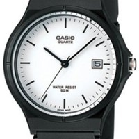 Casio Unisex MW59-7EV Black Resin Quartz Watch with White Dial