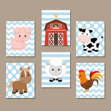 FARM Animals Wall Art, Canvas or Prints, Farm Nursery Decor, Rustic Farm Baby Boy Nursery Wall Art, Western Boy Bedroom Wall Decor, Set of 6