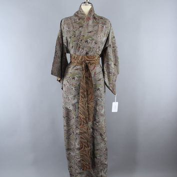 SALE - 1970s Vintage Kimono Robe / 70s Wedding Dressing Gown Lingerie / Downton Abbey / Art Deco / Brown Dotted Floral Print