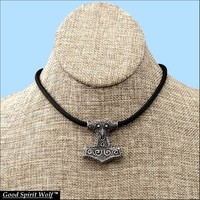 Raven Skane Thor's Hammer Design Pendant on All-Weather Durable Double Braided Cord Necklace