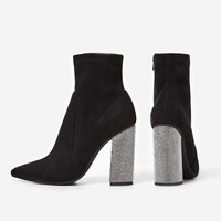 Dixie Silver Diamante Heel Ankle Boot In Black Faux Suede