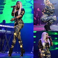 Nicki Minaj Jumpsuits Sexy Vintage Chain Pattern Print Clothing Women Patchwork Bodysuit  Prom Romper Playsuit Bandage Jumpsuits