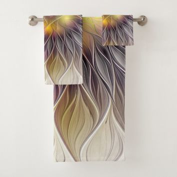 Luminous Colorful Flower, Abstract Modern Fractal Bath Towel Set