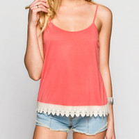 Full Tilt Essential Womens Crochet Trim Cami Coral  In Sizes