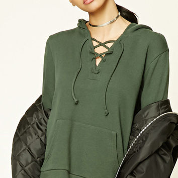 Heathered Lace-Up Hoodie