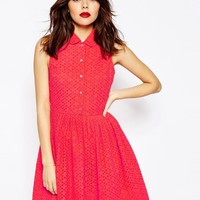 ASOS Mini Broderie Shirt Dress at asos.com