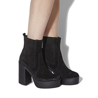 Office Indigo Platform Ankle Boots Black Suede - Ankle Boots