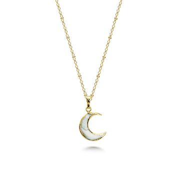Crescent moon Stone Necklace
