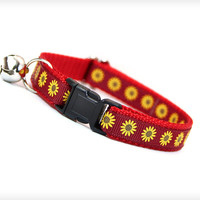 "Cat Collar - ""Tuscan Sun"" - Burgundy Red with Golden Sunflowers"