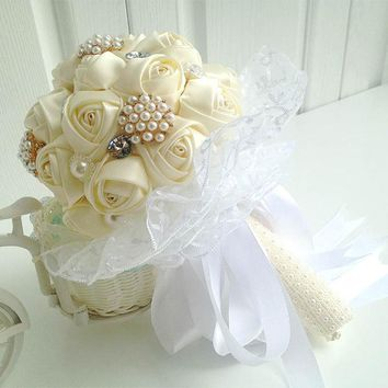Newest  artificial cream wedding bouquet crystal bridesmaid bouquets for wedding