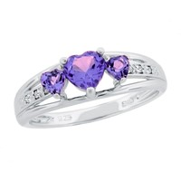 Amethyst Heart Sterling Silver Diamond Accent Birthstone Ring - Size 5