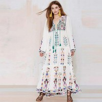 Floral Tassel Embroidered Long Sleeve Maxi Dress