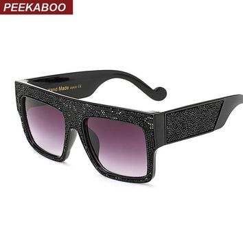 Peekaboo black big square frame sunglasses women diamond 2017 newest brand designer women sunglass fashion eyewear