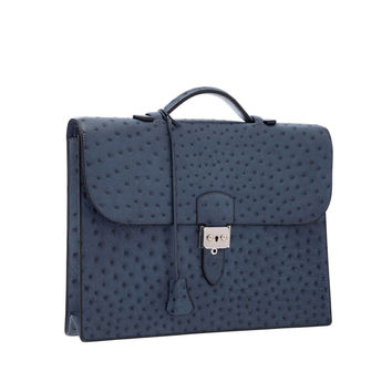Hermes Blue Roi Ostrich Sac a Depeches Briefcase Bag with Palladium Hardware