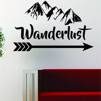 Wanderlust Quote Adventure Mountains Arrow Decal Sticker Wall Vinyl Art Decor Travel