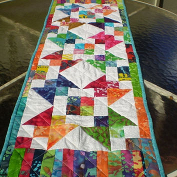 Quilted table runner,batik table topper,batik star table runner,batik patchwork topper,Jacobs ladder table runner,dresser scarf-Batik Beauty