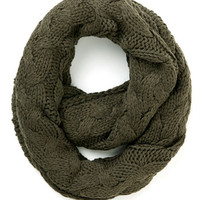 ModCloth Boho Go Outside and Plait Circle Scarf in Mossy Brown