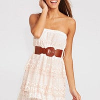 Belted Lace Tiered Dress