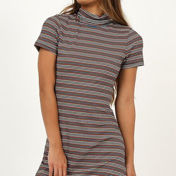 Genie In A Bottle Dress In Grey Stripe Produced By SHOWPO