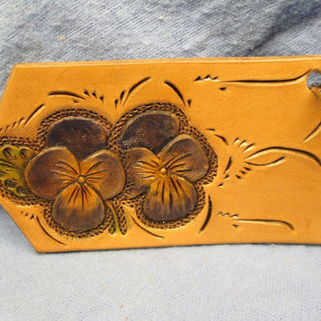 Pansy key ring , custom tooled , pansy flowers , leather key ring , custom keychain , handmade key fob