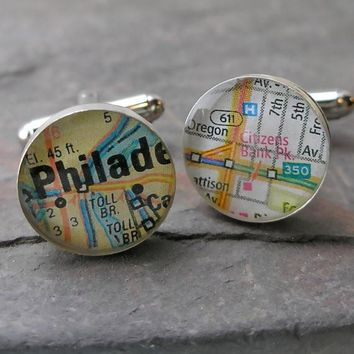 Philadelphia Phillies Ball Park Baseball Sterling Silver Map Cufflinks